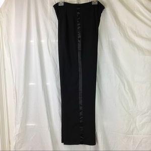 Black sheer crepe tuxedo trousers satin stripe